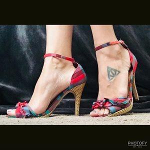Adorable Ruffle & Wicker Heels